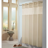 Hookless HBH49PEH05 Beige View From The Top Shower Curtain with Matching Flat Flex-On Rings, Weighted Corner Magnets, and Vinyl Window - 71 inch x 74 inch