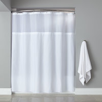 Hooked HBG40MYS01 White Polyester Premium Shower Curtain with Buttonhole Header, Sheer Voile Window, and Grommets - 71 inch x 72 inch