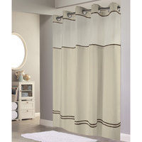 Hookless HBH40ES221 Sand with Brown Stripe Escape Shower Curtain with Chrome Raised Flex-On Rings, It's A Snap! Polyester Liner with Magnets, and Poly-Voile Translucent Window - 71 inch x 74 inch