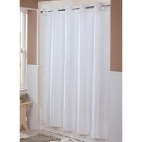 Hookless HBH44ENG01 White Englewood Shower Curtain with Matching Flat Flex-On Rings and Weighted Corner Magnets - 71 inch x 74 inch