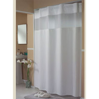 Hookless HBH52H101X White Mini Waffle Shower Curtain with Ring Concealing Header, It's A Snap! Polyester Liner with Magnets, and Poly-Voile Translucent Window - 71 inch x 77 inch