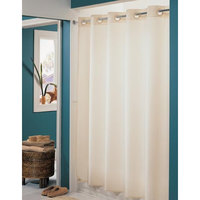 Hookless Beige Nylon Shower Curtain with Matching Flat Flex-On Rings and Weighted Corner Magnets - 71 inch x 74 inch