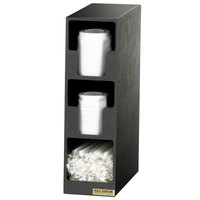 San Jamar L2202 Black 2-Compartment Vertical Countertop Lid Organizer with Straw Bin