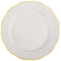 CAC SC-9G Seville 9 5/8 inch Ivory (American White) Scalloped Edge China Plate with Gold Band - 24/Case