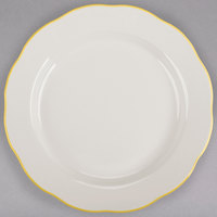 9 5/8 inch Ivory (American White) Scalloped Edge China Plate with Gold Band - 24/Case