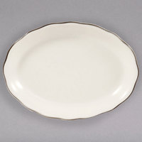 15 1/2 inch Ivory (American White) Scalloped Edge China Platter with Black Band - 12/Case