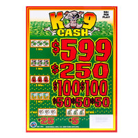 K9 Cash 5 Window Pull Tab Tickets - 3996 Tickets Per Deal - Total Payout: $1399