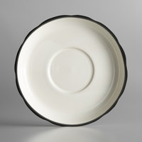 6 inch Ivory (American White) Scalloped Edge China Saucer with Black Band - 36/Case