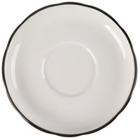 CAC SC-2B Seville 6 inch Ivory (American White) Scalloped Edge China Saucer with Black Band - 36/Case