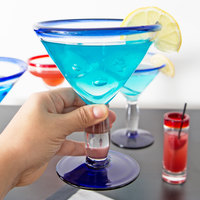 Libbey 92305 Aruba 10 oz. Martini Glass with Cobalt Blue Rim and Base - 12/Case