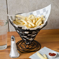 Choice 7 inch x 6 1/2 inch Black Check Wire Cone Basket Liner / Deli Wrap / Double Open Bag - 2000/Case