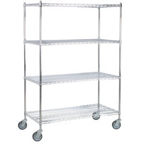 Regency 24 inch x 48 inch NSF Chrome Shelf Kit with 64 inch Posts and Casters