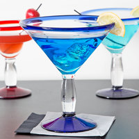 Libbey 92307 Aruba 24 oz. Martini Glass with Cobalt Rim and Base - 12/Case