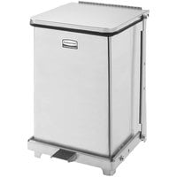 Rubbermaid FGST7SSRB The Defenders Stainless Steel Square Medical Step Can with Retainer Bands 7 Gallon