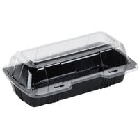 Par-Pak 29565 8 inch x 4 inch x 3 inch PET Black and Clear Hinged Hoagie / Sub Take-Out Container - 250 / Case