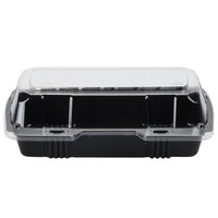 Par-Pak 29565 8 inch x 4 inch x 3 inch PET Black and Clear Hinged Hoagie / Sub Take-Out Container - 250/Case