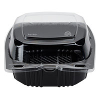 Par-Pak 29567 5 inch x 5 inch PET Black and Clear Hinged Take-out Container - 500/Case