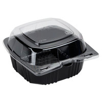 "Polar Pak 29567 5"" x 5"" PET Black and Clear Hinged Take-out Container - 500/Case"