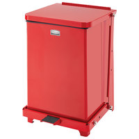 Rubbermaid FGST7ERBRD The Defenders Steel Square Red Medical Step Can with Retainer Bands 7 Gallon
