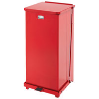Rubbermaid FGST24ERBRD The Defenders Steel Square Red Medical Step Can with Retainer Bands 24 Gallon