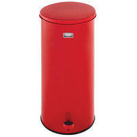 Rubbermaid FGST5EGLRD The Defenders Stainless Steel Round Red Medical Step Can with Galvanized Liner 5 Gallon