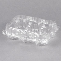 Polar Pak 2466 6 Compartment Low Dome Clear Hinged Cupcake / Muffin Takeout Container - 500/Case