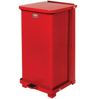 Rubbermaid FGQST40EPLRD The Silent Defenders Red Square Steel Quiet Step Can with Rigid Plastic Liner 40 Gallon