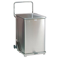 Rubbermaid FGQST40SWPL The Silent Defenders Square Stainless Steel Quiet Step Can with Wheels and Rigid Plastic Liner 40 Gallon