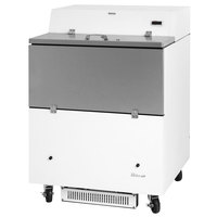 Turbo Air TMKC-34S-WA Super Deluxe 34 inch Single Sided White Vinyl and Stainless Steel Milk Cooler with Aluminum Interior