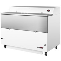 Turbo Air TMKC-58S-WS Super Deluxe 58 inch Single Sided White Vinyl and Stainless Steel Milk Cooler
