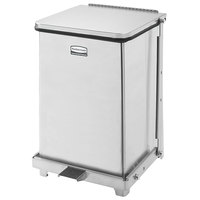 Rubbermaid FGQST7SSPL The Silent Defenders Square Stainless Steel Quiet Step Can with Rigid Plastic Liner 7 Gallon