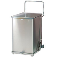 Rubbermaid FGQST40SWRB The Silent Defenders Square Stainless Steel Quiet Step Can with Wheels and Retainer Bands 40 Gallon