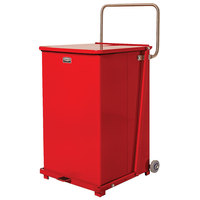 Rubbermaid FGST40EWPLRD The Defenders Steel Square Red Medical Step Can with Wheels and Rigid Plastic Liner 40 Gallon