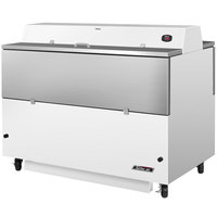 Turbo Air TMKC-58D-WS 58 inch Dual Sided White Vinyl and Stainless Steel Milk Cooler - 115V