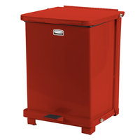 Rubbermaid FGQST40EW The Silent Defenders Red Square Steel Quiet Step Can with Wheels and Retainer Bands 40 Gallon (FGQST40EWRBRD)