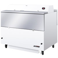 Turbo Air TMKC-49D-WA 49 inch Dual Sided White Vinyl and Stainless Steel Milk Cooler - 115V