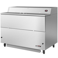 Turbo Air TMKC-58S-SA Super Deluxe 58 inch Single Sided Stainless Steel Milk Cooler with Aluminum Interior