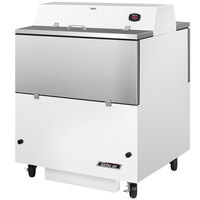 Turbo Air TMKC-34D-WS 34 inch Dual Sided White Vinyl and Stainless Steel Milk Cooler - 115V