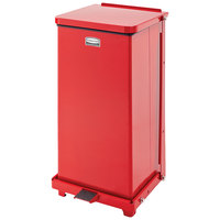 Rubbermaid FGQST12ERBRD The Silent Defenders Red Square Steel Quiet Step Can with Retainer Bands 12 Gallon