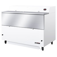 Turbo Air TMKC-58S-WA Super Deluxe 58 inch Single Sided White Vinyl and Stainless Steel Milk Cooler with Aluminum Interior