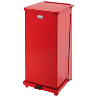Rubbermaid FGQST24EPLRD The Silent Defenders Red Square Steel Quiet Step Can with Rigid Plastic Liner 24 Gallon