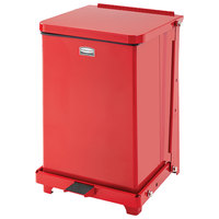 Rubbermaid FGQST7ERBRD The Silent Defenders Red Square Steel Quiet Step Can with Retainer Bands 7 Gallon
