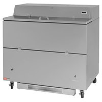 Turbo Air TMKC-49S-SA Super Deluxe 49 inch Single Sided Stainless Steel Milk Cooler with Aluminum Interior