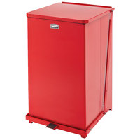 Rubbermaid FGST40ERBRD The Defenders Steel Square Red Medical Step Can with Retainer Bands 40 Gallon