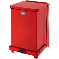 Rubbermaid FGQST7EPLRD The Silent Defenders Red Square Steel Quiet Step Can with Rigid Plastic Liner 7 Gallon