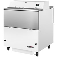 Turbo Air TMKC-34D-WA 34 inch Dual Sided White Vinyl and Stainless Steel Milk Cooler - 115V