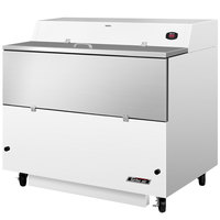 Turbo Air TMKC-49S-WS Super Deluxe 49 inch Single Sided White Vinyl and Stainless Steel Milk Cooler