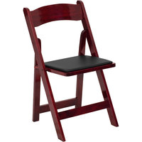 Flash Furniture XF-2903-MAH-WOOD-GG Mahogany Wood Folding Chair with Padded Seat