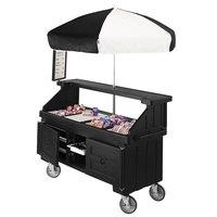 Cambro CVC724110 Camcruiser Black Customizable Vending Cart with Umbrella and 4 Counter Wells