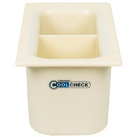 Carlisle CM1103C1402 Coldmaster CoolCheck 1/3 Size White Divided Cold Food Pan - 6 inch Deep